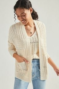 Anthropologie Rae Open-Knit Cardigan | ivory open front cardigans