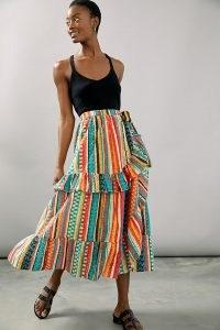 Verb by Pallavi Singhee Ruffled Midi Skirt | multicolour striped ruffle skirts