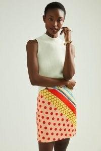Farm Rio Castilia Knitted Mini Skirt Orange Motif | brightly coloured mixed print skirts