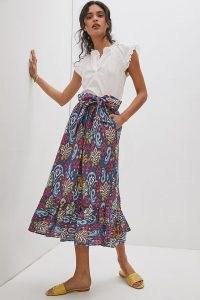 Anthropologie Edith Print Midi Skirt Blue Motif | paisley tie waist skirts with frill hem