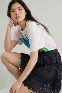 Anthropologie Broderie Anglaise Mini Skirt Black | cotton embroidered summer skirts