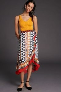 Verb Rosario Embroidered Wrap Midi Skirt Novelty | multi print side tie summer skirts with ruffle trim
