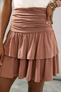 Maeve Charla Tiered Mini Skirt | flippy tiered pull-on skirts
