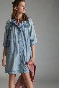 Tiny Jules Chambray Tunic Dress Denim Light   casual blue puff sleeve shirt dresses