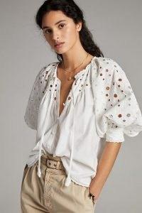 Pilcro Chantal Eyelet Blouse   white volume puff sleeve boho blouses for summer 2021