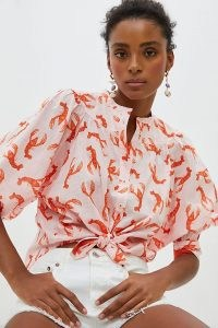 Maeve Whimsy Print Buttondown Pink Combo   cropped puff sleeve summer shirt   lobster prints