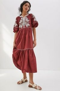Anthropologie Gretel Embroidered Maxi Dress   cotton puff sleeve summer dresses