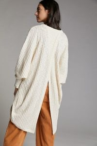 Anthropologie Lettie Tulip-Back Cardigan Ivory | classic longline open front cardigans with split back detail