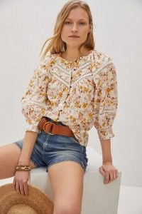 Anthropologie Harmony Lace Peasant Blouse Neutral Motif   floral summer blouses