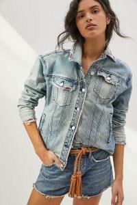 Pilcro Boyfriend Denim Trucker Jacket   distressed casual classic style jackets