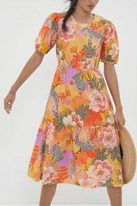 Farm Rio Maribel Maxi Dress Orange Motif   bright tiered summer dresses