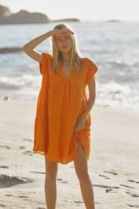Maeve Juliet Tiered Tunic Dress | bright orange loose fit summer dresses