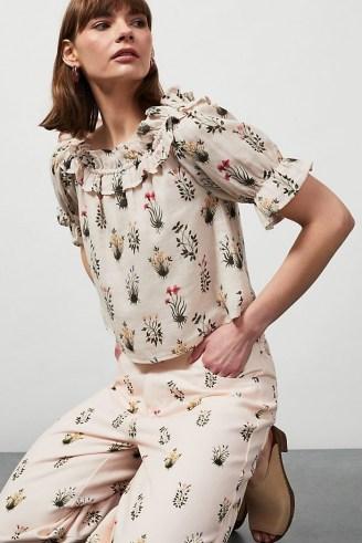 Meadows Primavera Printed Organic Top – pink floral ruffle neck tops
