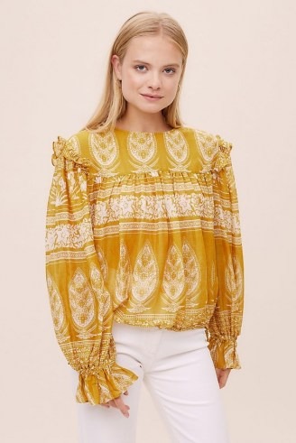 M.A.B.E. Peasant Blouse – yellow ruffled cotton blouses - flipped