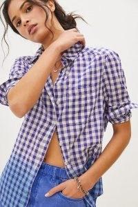 Pilcro Deb Gingham Buttondown Shirt / women's blue checked shirts