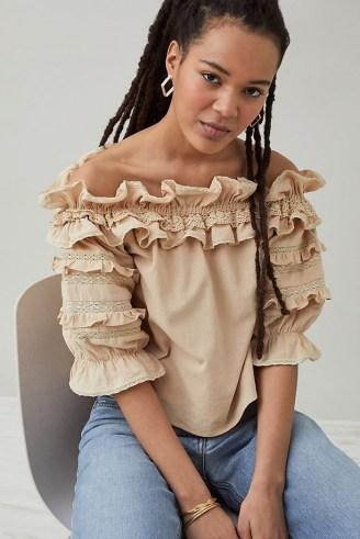 Meadows Blossom Ruffled Top – frill trim bardot blouse - flipped