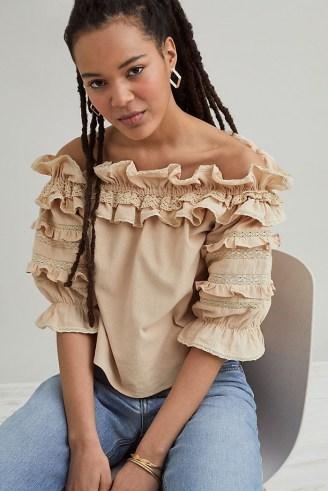 Meadows Blossom Ruffled Top – frill trim bardot blouse
