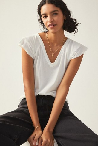 Maeve Ruffle Sleeve T-Shirt – white V-neck flutter sleeve tee - flipped
