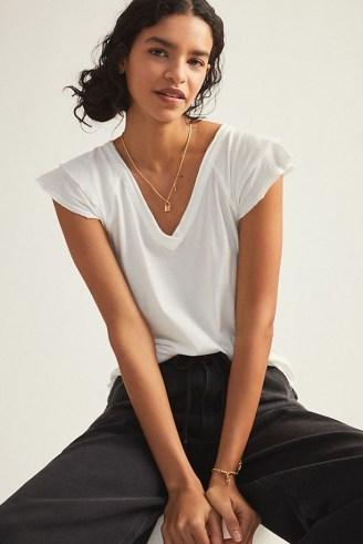 Maeve Ruffle Sleeve T-Shirt – white V-neck flutter sleeve tee