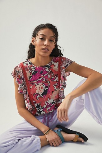 Conditions Apply Zofana Print Top / pink ruffle detail tops - flipped