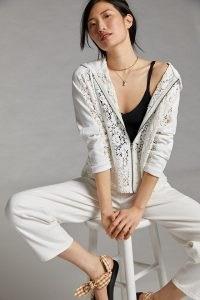 Eze Sur Mer Zia Lace Zip-Up Hoodie / white semi sheer floral hoodies