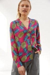 Janine Lecour Pineapple Buttondown Pink Combo / tropical fruit print shirts