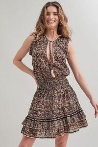 M.A.B.E. Farrah Mini Dress / brown sleeveless floral summer dresses