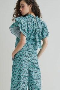 Damson Madder Organic Blouse in Green Motif ~ romantic flutter sleeve blouses