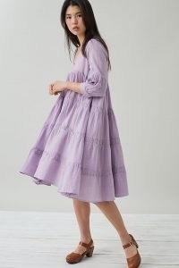 Devotion Ruffled Mini Dress in Lilac ~ tiered dresses