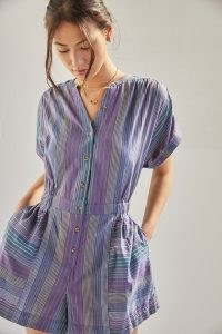 ANTHROPOLOGIE Striped Playsuit in Purple Motif ~ lightweight cotton playsuits