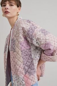 ANTHROPOLOGIE Esther Quilted Print Jacket in Lilac ~ patchwork style jackets