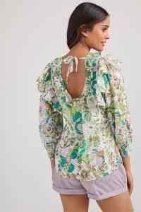 ANTHROPOLOGIE Ruffled Print Blouse in Green Motif ~ romantic back tie detail floral blouses