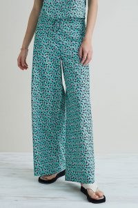 Damson Madder Organic Wide-Leg Trousers in Green ~ cotton floral pants