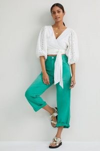 Pilcro The Forager Trousers in Kelly ~ bright green summer pants