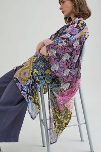 Elizabeth Gillett Patchwork Kimono in Purple Motif ~ floaty floral kimonos