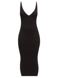 BALMAIN Back-zip rib-knitted midi dress ~ plunge front LBD