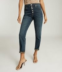 Reiss BAILEY MID RISE SLIM CROPPED JEANS DARK BLUE