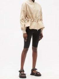 MONCLER Baldah drawstring-waist topstitched jacket | casual cream peplum hem jackets