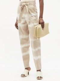 STELLA MCCARTNEY Bamboo Safari tie-dye denim trousers ~ tie waist jeans
