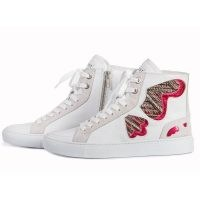 THE BOOT INSTITUTE Barcelona Butterfly Sneakers White Leather / embroidered hi top trainers