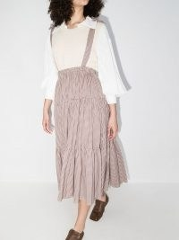 Batsheva Amy gingham tiered skirt / check skirts with tie straps