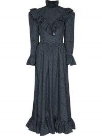 Batsheva Carol floral-print ruffled dress ~ blue vintage style high neck dresses