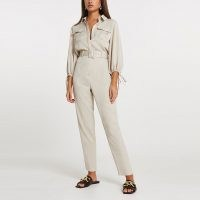 RIVER ISLAND Beige belted jumpsuit ~ neutral jumpsuits