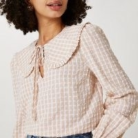 RIVER ISLAND Beige check print collar blouse top / oversized collar blouses