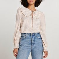 RIVER ISLAND Beige check print collar blouse top / checked oversized collar blouses