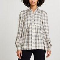 RIVER ISLAND Beige check print smock shirt / smocked shirts