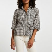 RIVER ISLAND Beige check print waisted belted shirt