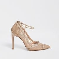 RIVER ISLAND Beige gold chain mesh court heels / fishnet courts