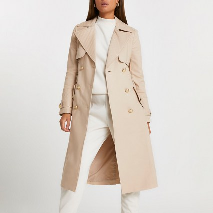 River Island Beige quilted longline trench coat – neutral classic style coats