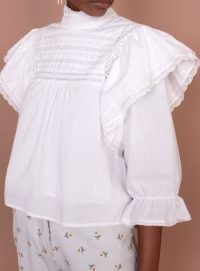 Meadows BELLFLOWER TOP WHITE ~ lace trim ruffled tops